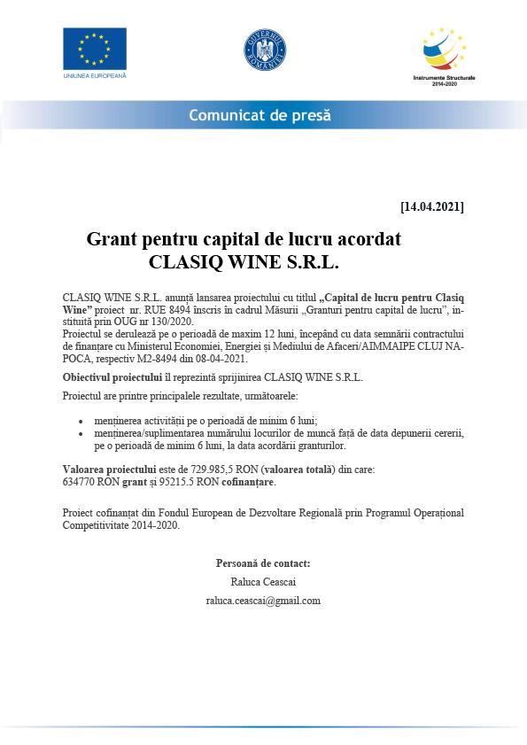 Comunicat de presă - Grant pentru capital de lucru acordat CLASIQ WINE S.R.L.
