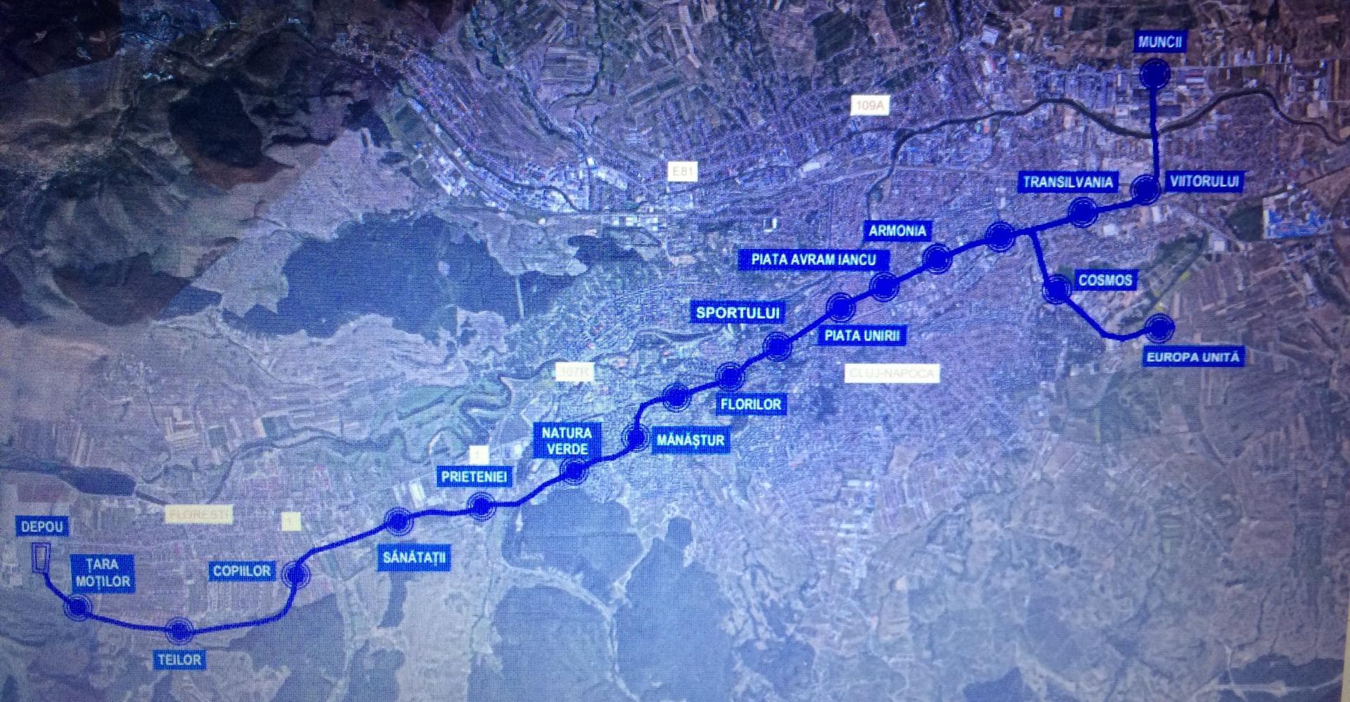 Traseul metroului din Cluj-Napoca va avea 20 de km. Cele 19 stații subternae au fost deja botezate